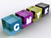 Concept of cubes shown in CMYK color scheme
