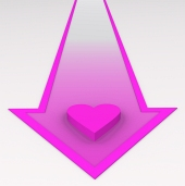 Pink heart on arrow