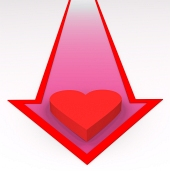 Red heart on arrow