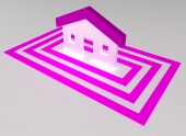 Pink house highlighted with squares