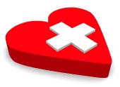 Red heart amd cross ...
