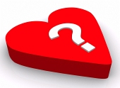 Red heart with question ...