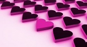 One pink heart between ...