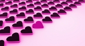 Many hearts in pink and black color scheme