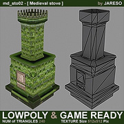 Lowpoly medieval stove