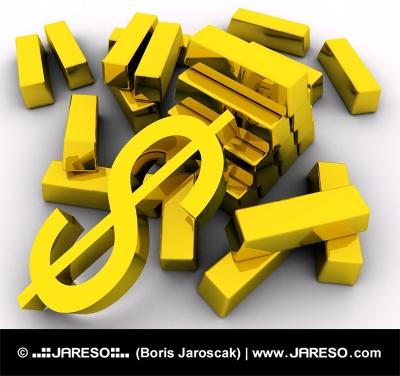 Златни кюлчета и златни знака за долар на бял фон