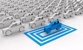 Symbolic синя кола, се подчертава в квадрати