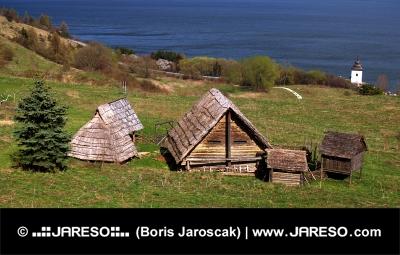 Редки дървени къщи в Havranok музей