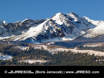 Връх на планината Високите Татри по време на ясен зимен ден