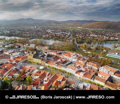 Въздушното оглед на Тренчин Град, Словакия