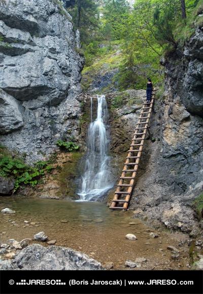 Waterfall и стълбата в Kvacianska Valley