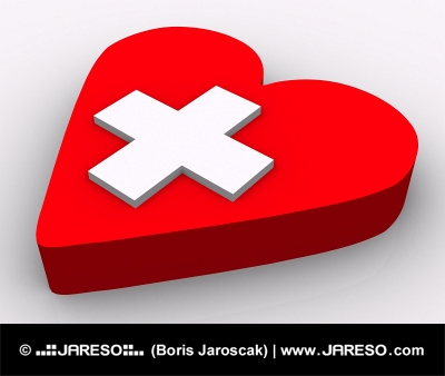 Begrebet hjerte og kors på hvid baggrund