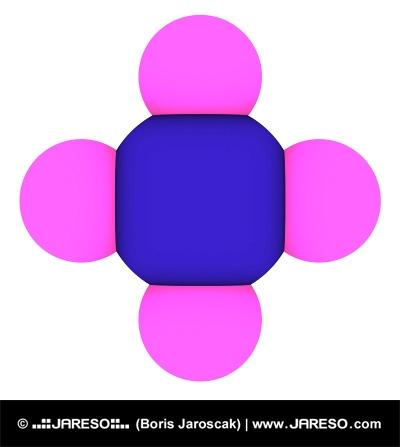Visualisering af methan 3D-model (CH4 molekyle)
