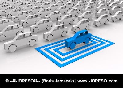Symbolsk blå bil fremhævet i kvadrater