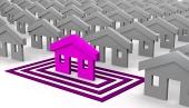 Pink hus målrettet i kvadrater