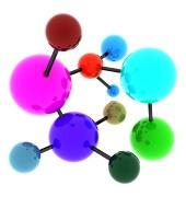 Abstract molekyle fuld af farver