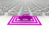 Symbolsk pink bil fremhævet med firkanter