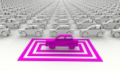 Symbolsk pink bil fremh?vet med firkanter