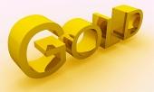 GOLD tekst med gyldne skygge isoleret på hvid baggrund