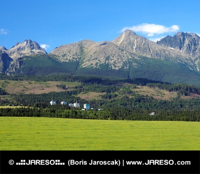 Høje Tatra og eng i Slovakiet