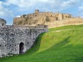 Ruinerne af Spissky Slot f?r solnedgang