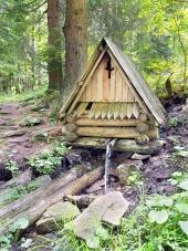 Wooden hytte i landskabet