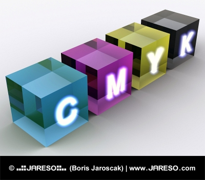 Konzept der Würfel in CMYK Farbschema gezeigt