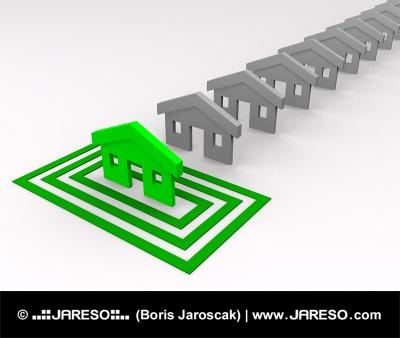 Grünes Haus in den Quadraten gezielte
