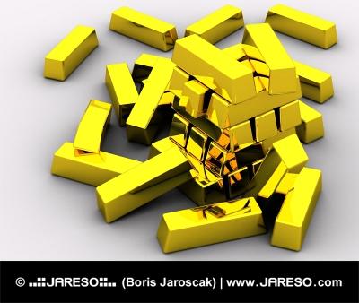 Pile von Goldbarren auf weißem Hintergrund