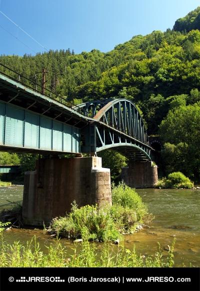 Sommer Angesichts der Eisenbahnbrücke und Vah Fluss in der Nähe Strecno Dorf, Slowakei