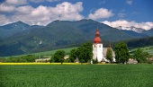 Wiese und alte Kirche