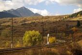 Railroad and mountain
