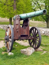 Authentischen historischen Kanonen in Trencin, Slowakei