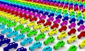 Rainbow έννοια αυτοκίνητα