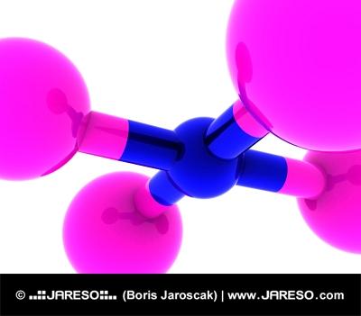 Concepto abstracto molecular en color rosa y azul