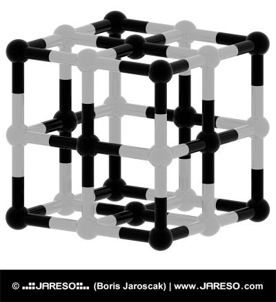 Extracto negro y estructura cúbica blanca 3d model