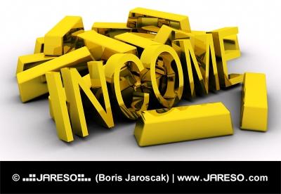 Barras de oro y texto INGRESOS dorado sobre fondo blanco