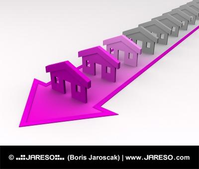 Casas de colores de color rosa en la flecha diagonal