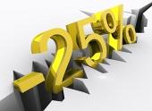 25 por ciento de descuento