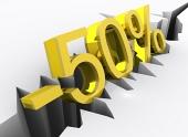 50 por ciento de descuento