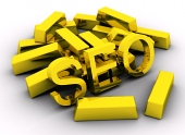 Barras de oro y Search Engine Optimization (SEO) letras