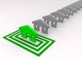 Casa verde blanco en cuadrados