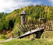 Castillo de madera rara en el museo Havranok
