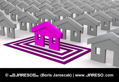 Maison rose ciblée sur les places