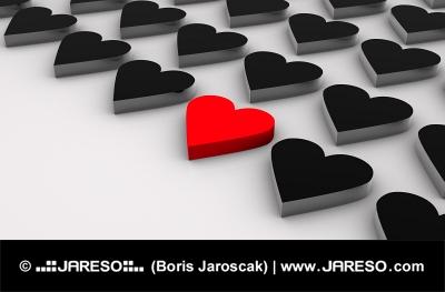 Diagonal coeurs noirs avec un coeur rouge