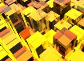 Fond jaune cubes