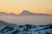 Velky Rozsutec au coucher du soleil en hiver