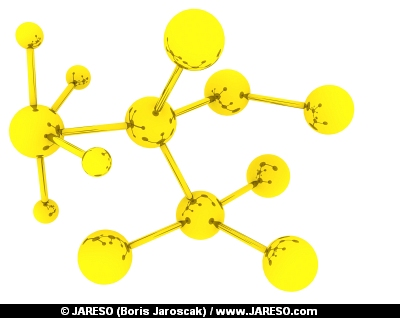 Abstract molecular rendering in gold color