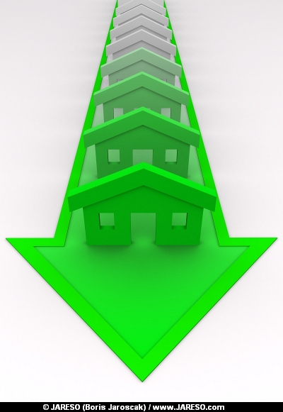 Houses colored to green on arrow