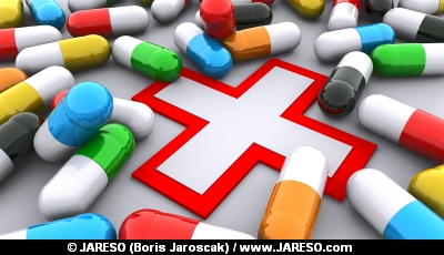 Pills and red cross
